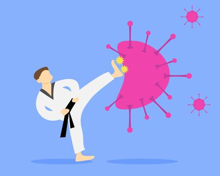 Illustration vector design of karateka is fighting and kicking the virus.