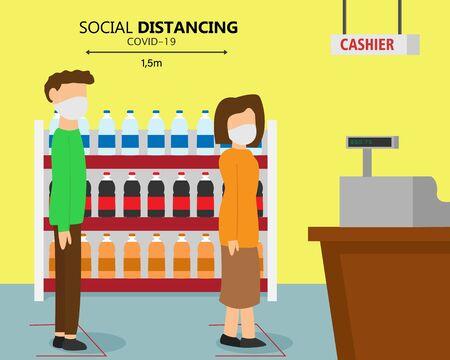 Illustration vector design of social distancing