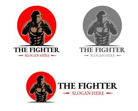 Illustration vector design of the fighter logo mascot template
