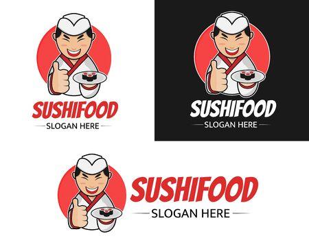 Conception de vecteur d'illustration du modèle de logo de mascotte de sushi