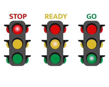 Illustration vector design of traffic light. Red, yellow and green.