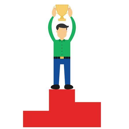 Illustration vector design of successful of businessman. Winning the champion