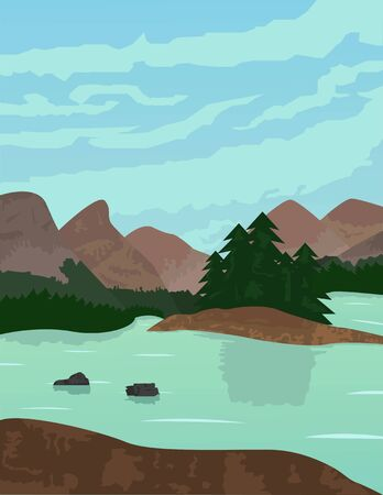 Illustration vector design of Lanscape and Nature of Mountain, River and Forest