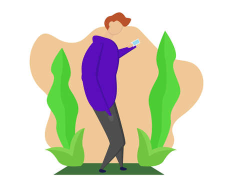 Illustration vector design of a man using smartphone
