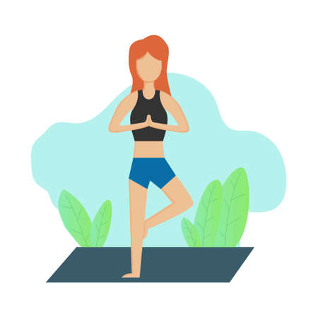Illustration vector design of woman doing yoga for her health