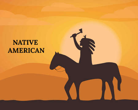Illustration vector design of Native American background landscape