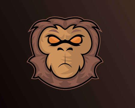 Illustration vector design of monkey eSport logo template 矢量图像