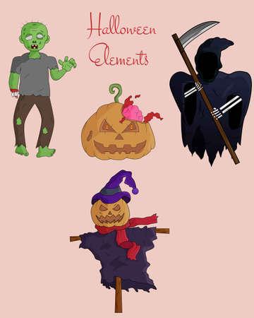 Illustration vector design of Halloween character template