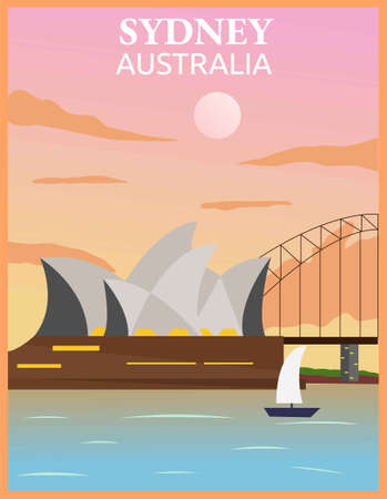 Illustration vector design of retro and vintage travel poster of Sydney, Australia.