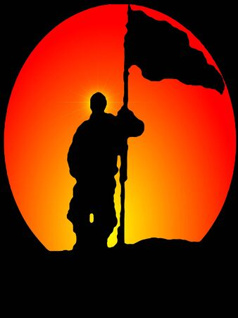 iraq war: Silhouette of Man holding Flag in Sunrise