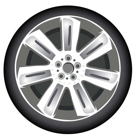 alloy: 20-inch Alloy Car Wheel On A Whitisolated; nobody; illustration; graphic; vector; UK; british; with tyre; Background, British car, UK luxury car,