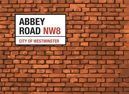 westminster abbey: Abbey Road London Street Sign On A Brick Background