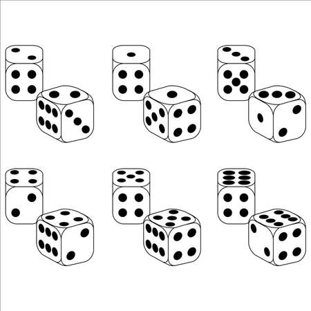 double the chances: White Dice On A White Background Illustration