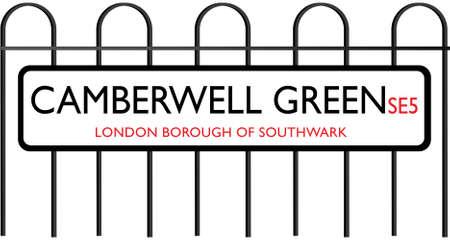 green street: Isolated Camberwell Green London Street Sign, LONDON STREET, Borough of Southwark