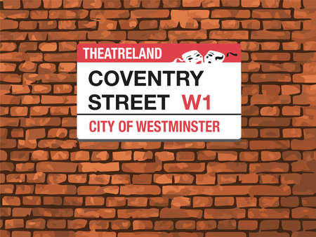 westminster: Coventry Street London W1 Sign, Brick wall background