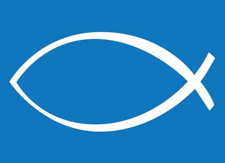 icthus: White Icthus, Blue Background,