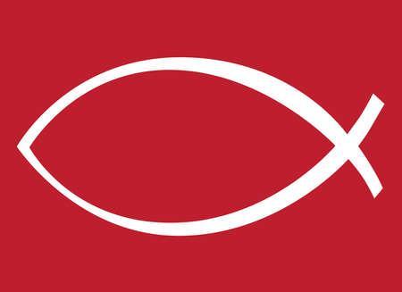 icthus: White Icthus, Red Background,