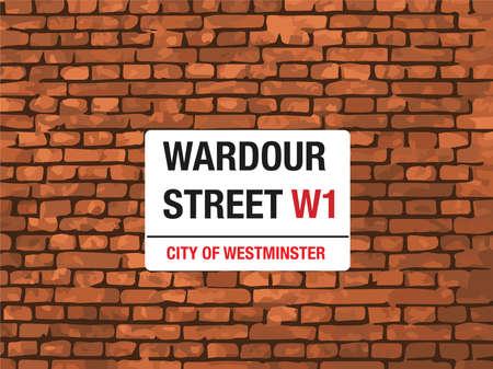 city of westminster: Wardour Street, West London, Street Sign on a brick wall