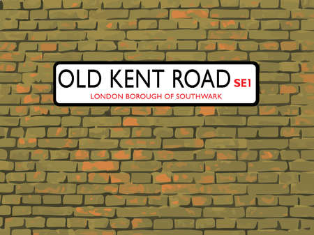 brick road: Old Kent Road London SE1 Sign On A Brick Background