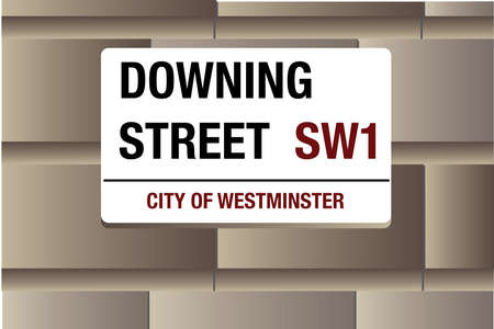 westminster: Downing Street, White street sign on a stone background, layered