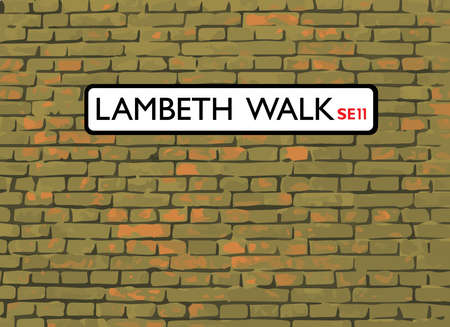 city of westminster: Lambeth Walk SE11, London, Street Sign on a brick wall