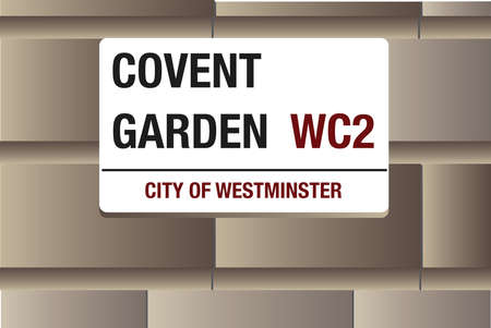 westminster: Covent Garden, White street sign on a stone background, layered Illustration