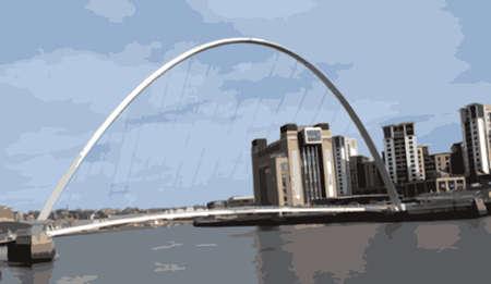 millennium: Newcastle-Gateshead Millennium Bridge Vector Illustration Illustration