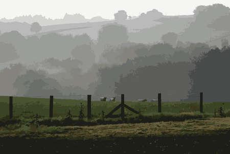 Small Flock of Welsh Sheep Misty Background Illustration