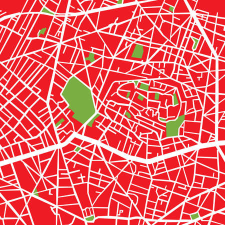 montmartre: Montmartre Arrondissement Tomato, Street plan Illustration