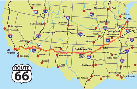 Route 66 from Chicago to Los Angeles