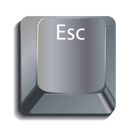esc: Metallic Escape Key with shadow, layered on a white background