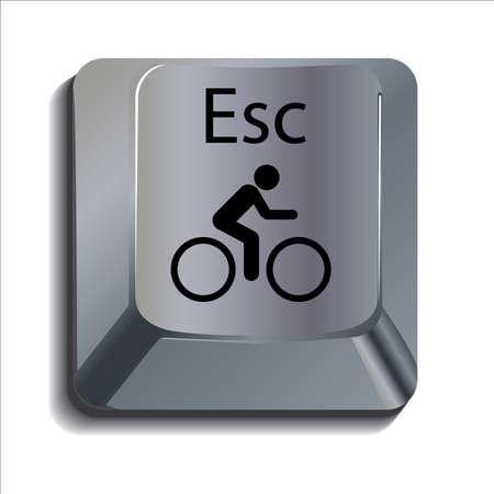 escape key: Cyclist on escape key