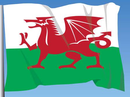 welsh flag: Welsh Flag fluttering in the breeze
