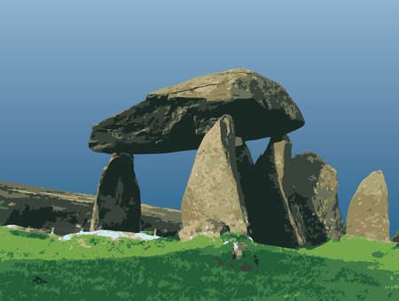 civilisation: The Pentre Ifan Dolmen, is a prehistoric communal stone, burial chamber which dates from approx 3500BC. An ancient manor in the civil parish of Nevern, Pembrokeshire, Wales. It contains and gives its name to the largest and best preserved neolithic dolmen Illustration