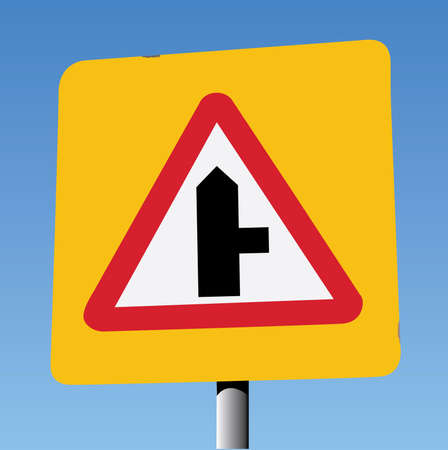 safer: Red Triangle on Yellow Square Background, Side Road on Right Ahead