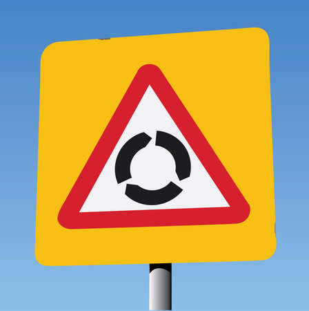 safer: Red Triangle on Yellow Square Background, Roundabout Ahead. Illustration