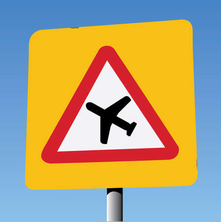 safer: Low Flying Aircraft, Red Triangle on Yellow Square Background. Illustration