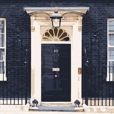 Przednie drzwi numer dziesięć Downing Street domu z brytyjskim premierem