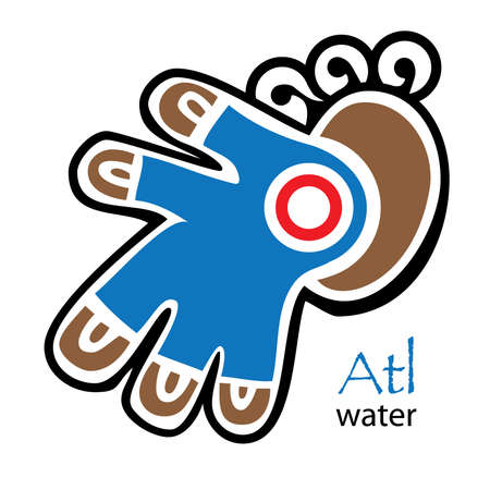 codex: Blue, brown and red Aztec water symbol Illustration