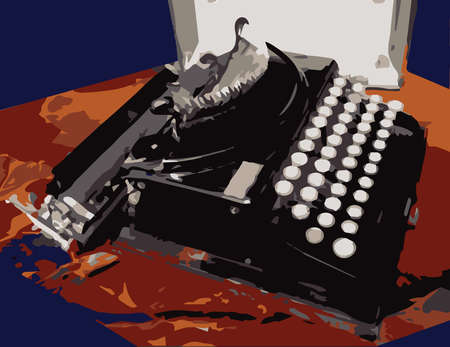 typewriting machine: Antique portable typewriter on a table against a dark blue background Illustration