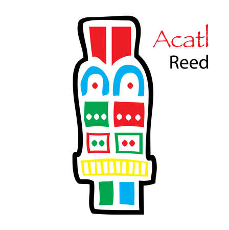 aztec calendar: Aztec Calendar Symbol, Acatl, Reed Illustration