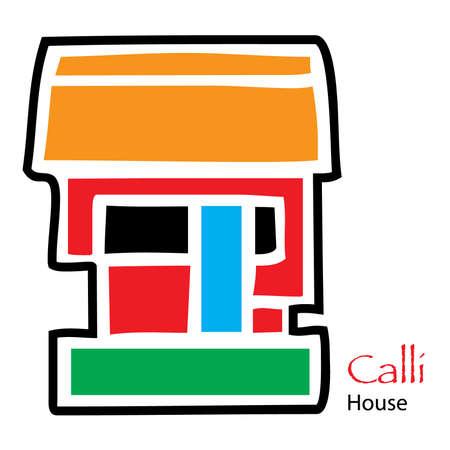 kingdom of god: Simple Aztec Calendar icon for Calli and House