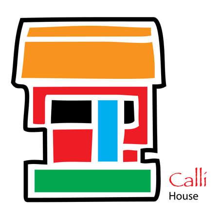 aztec calendar: Simple Aztec Calendar icon for Calli and House