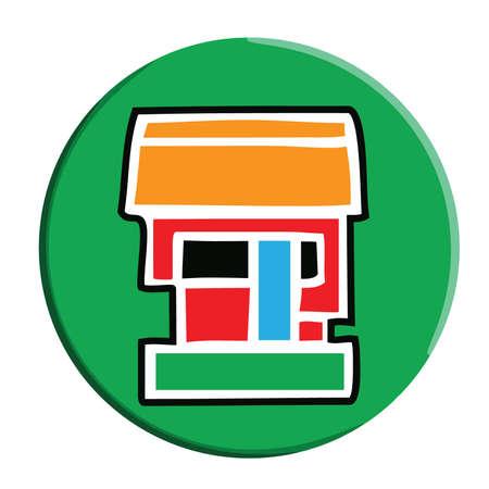 aztec calendar: Simple Aztec Calendar icon for Calli and House on a green button