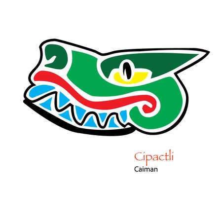 caiman: Simple Aztec Calendar icon for Cipactli, Crocodile, or Caiman Illustration