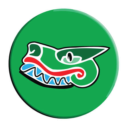 caiman: Simple Aztec Calendar icon for Cipactli and Crocodile on a green button Illustration