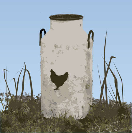 farm sign: Beautiful blue sky and ancient milk churn with a chicken, used as a farm sign.
