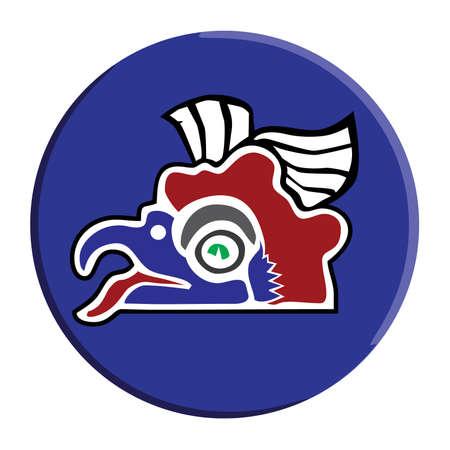 trickster: Aztec Vector Cozcacuauhtli-Vulture Button