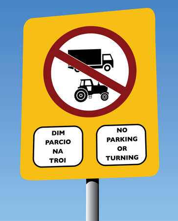 turning: Vector English & Welsh Bilingual Road Sign, No Parking or Turning, Yellow Backboard