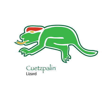 diviner: Aztec Calendar Cuetzpalin-Lizard Icon Illustration